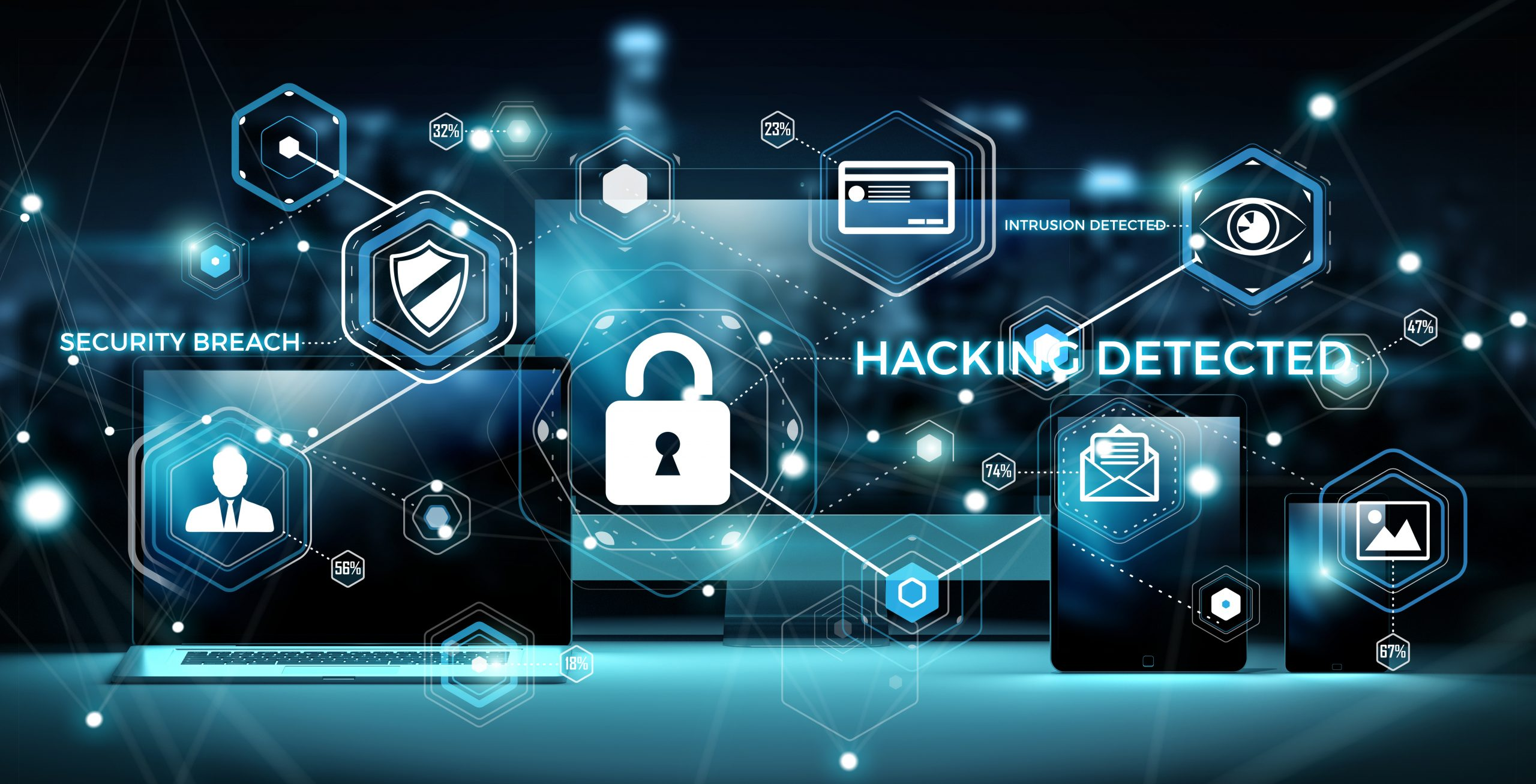 cybersecurity with word written in white saying security breach and hacking detected, blue lines and black background