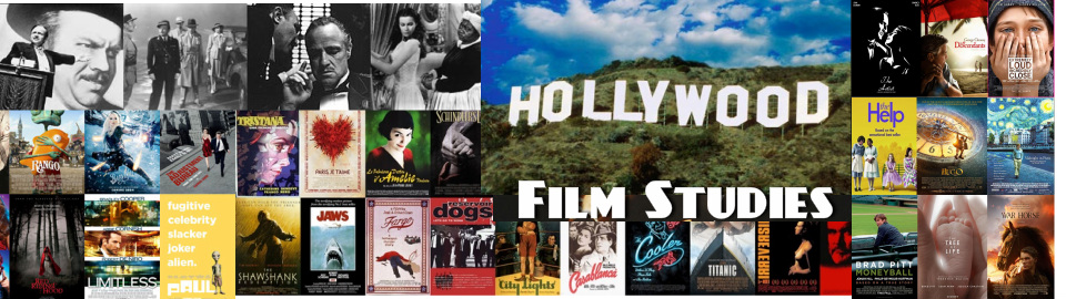 film studies banner with pictures of hollywood films with colors of blue, yellow, red, and black and white photos