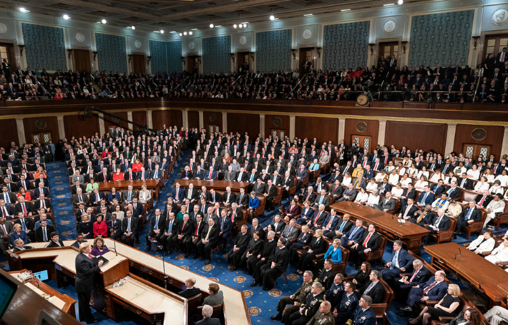 government and political science; picture of congress, blue floor