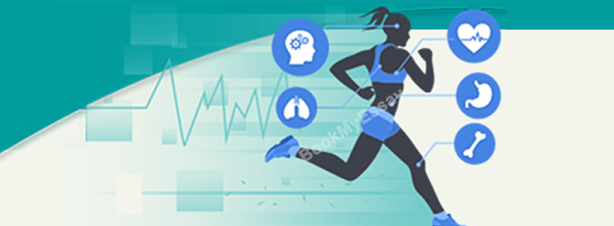 health and physical education; picture of woman running showing vital signs in green background