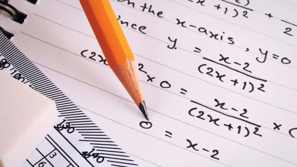 mathematics picture of white notebook paper with algebra formulas with pencil on top