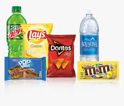 picture of water bottle, Mountain Dew soft drink bottle, pop tart, chips and M&Ms candy