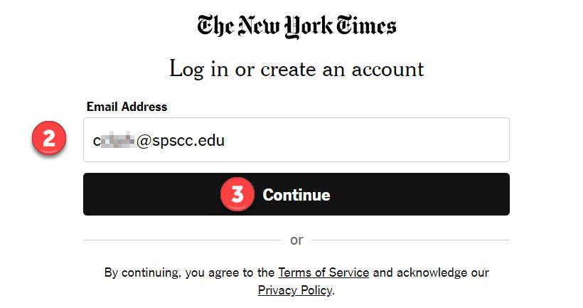 Screenshot: NYT Create Account page