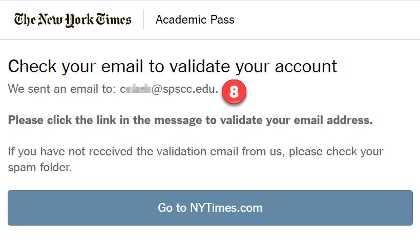 Screenshot: NYT Check Email page