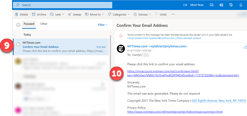 Screenshot: Outlook Inbox
