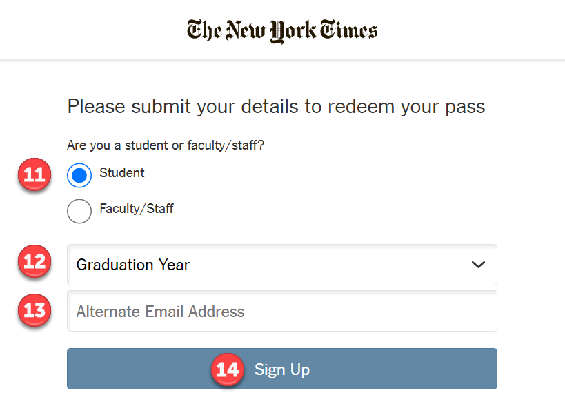 Screenshot: NYT Create Account Details page