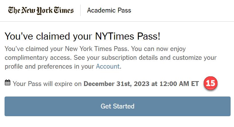 Screenshot: NYT Confirmation page