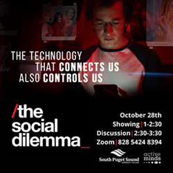 The Social Dilemma poster: the technology that connects us also controls us