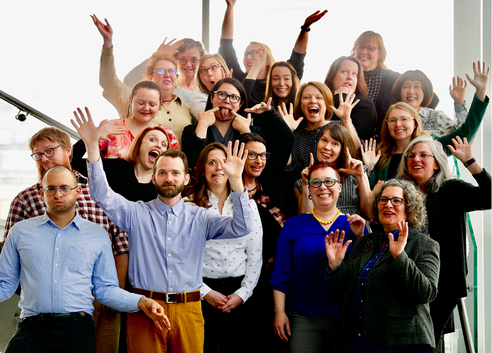 Walden University Library silly staff group photo