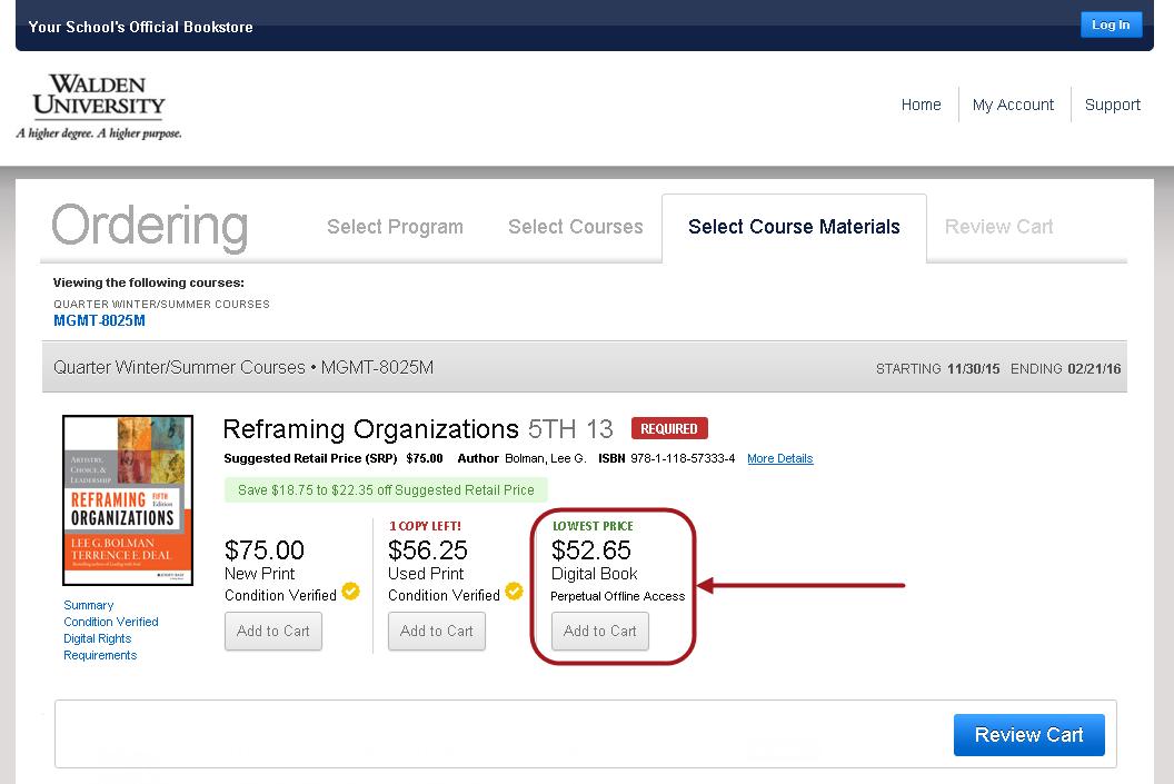 screenshot of bookstore's ebook options