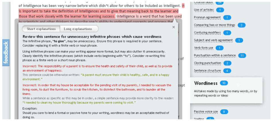 screen shot of grammarly feedback