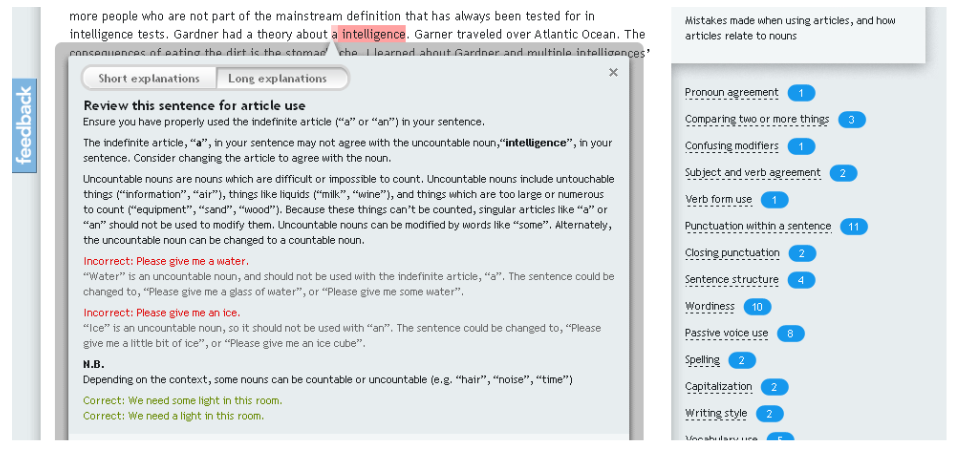 screen shot of grammarly feedback
