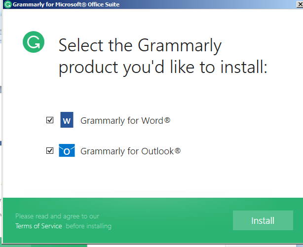 screenshot of grammarly.com and app download process