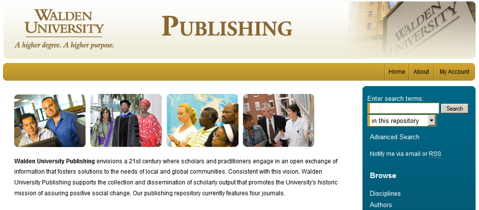 screenshot of homepage for publishing at walden