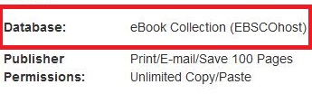 Red box around EBSCO ebook collection and publisher print email and save permissions