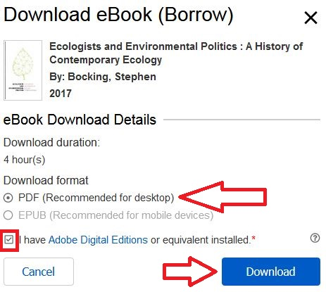 Detail of title and red arrow pointing to PDF button and check box of I have Adobe Digital Editions installed