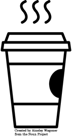A black line illustration of a to-go coffee cup