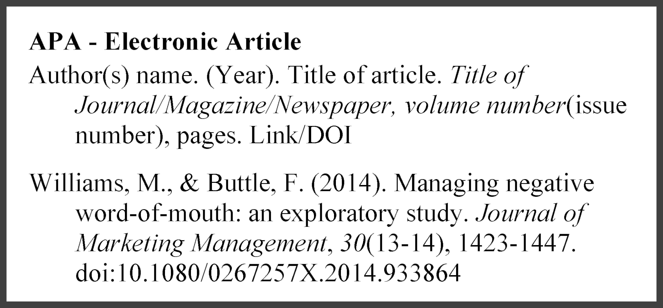 example of an APA electronic article reference