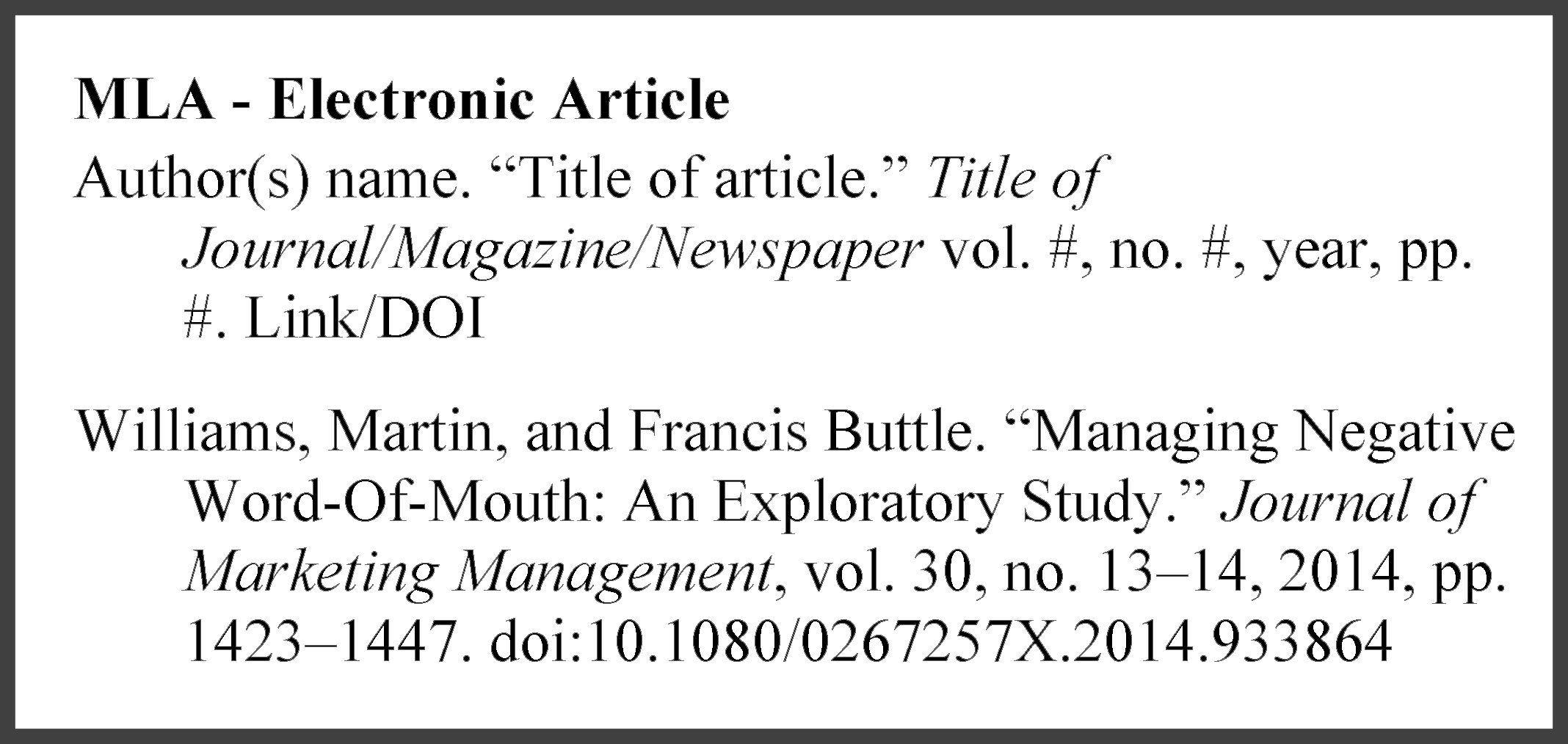 example of an MLA electronic article reference