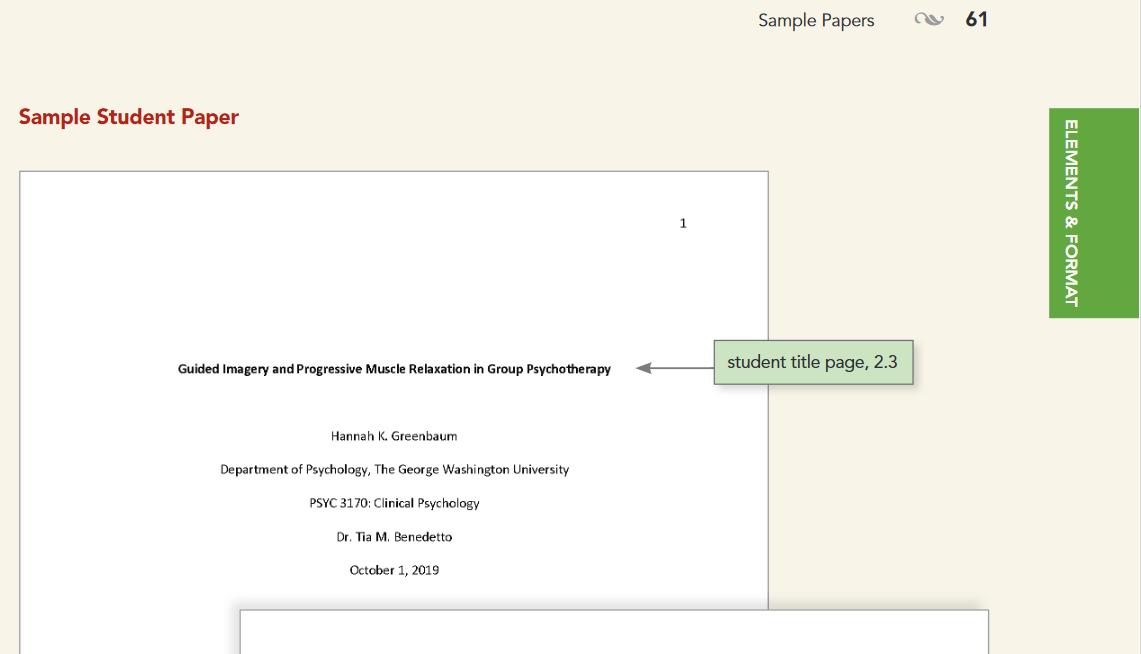 snapshot of sample student paper