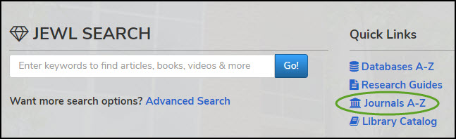 screenshot of JEWL Search box on library's home page