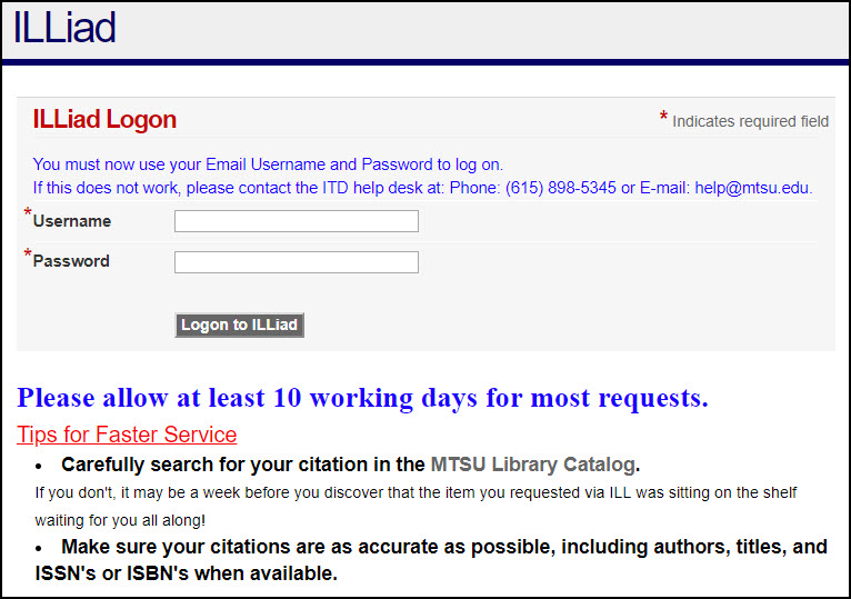 screenshot of the Interlibrary Loan sign in page