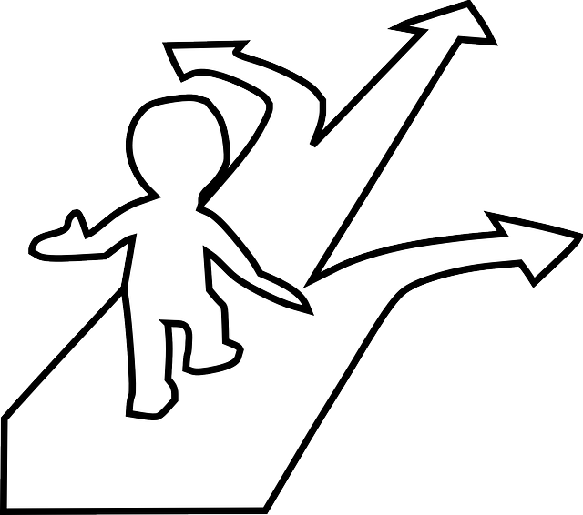 Line drawing of a person choosing a path. Icon for the choosing a topic module. Click to access.