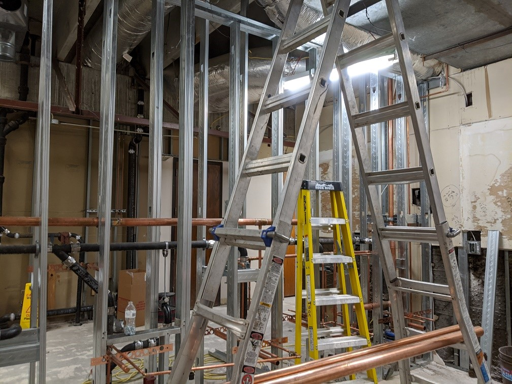 1st floor – framing and pipes