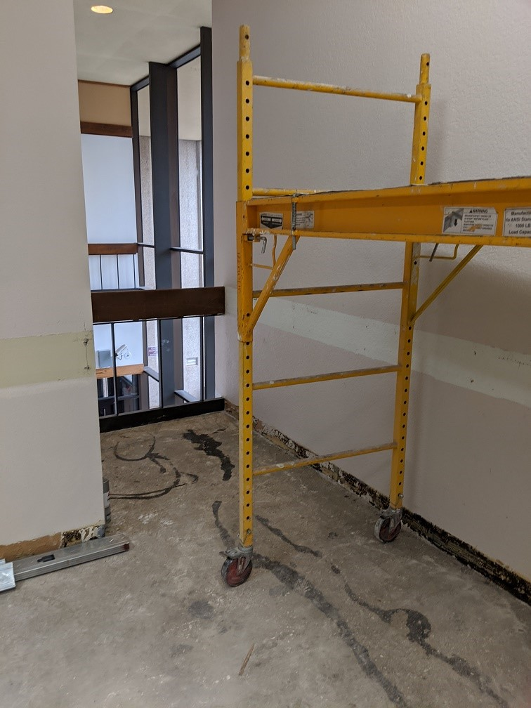 2nd floor – area above vending machines that will become a closet within the handicapped stall in the women's restroom