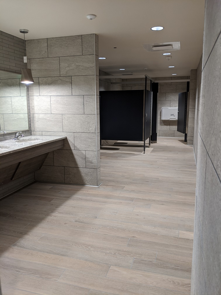 Men's restroom viewed from entrance