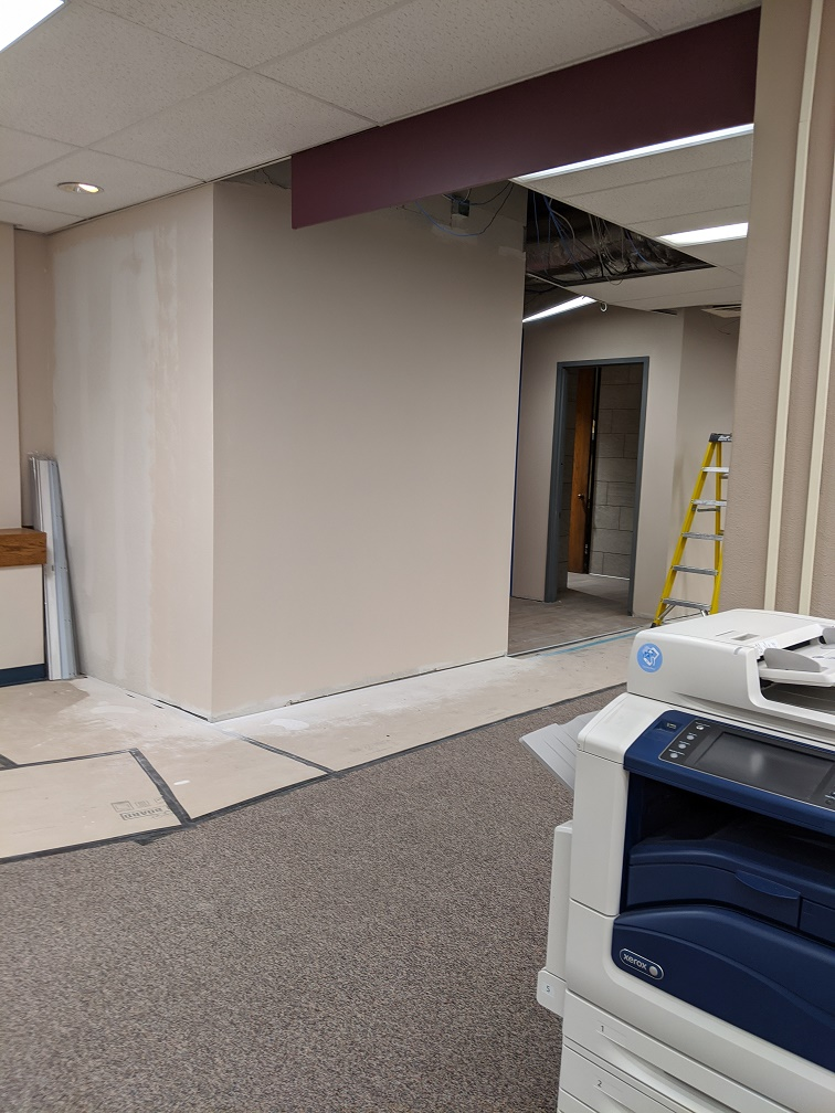 remodeled entrance to library restrooms