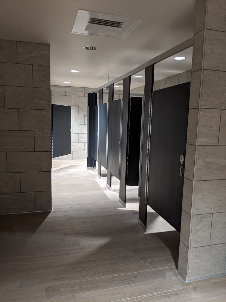 Remodeled women's restroom in a library in grays