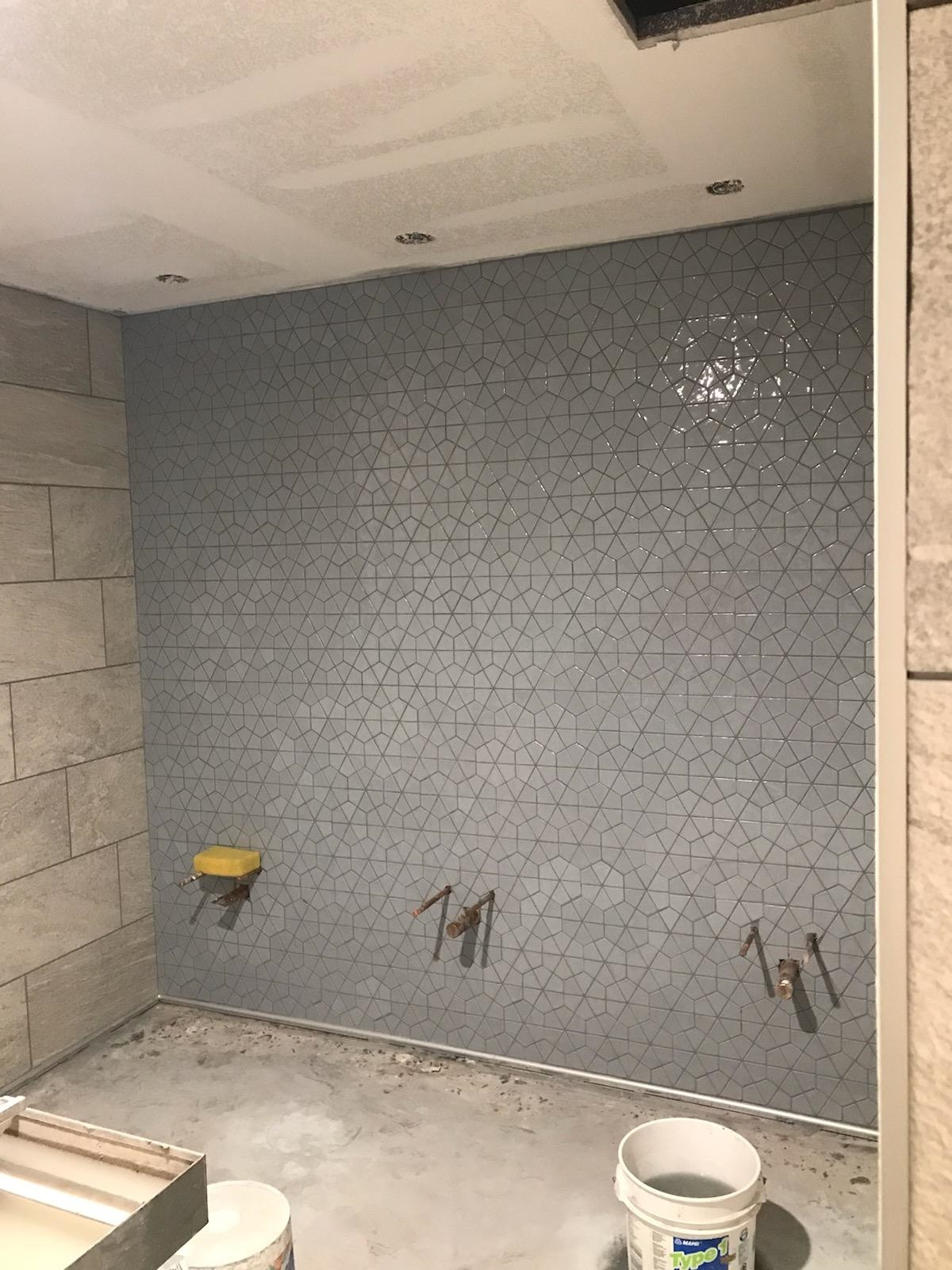 new grey and tan tile in library restroom