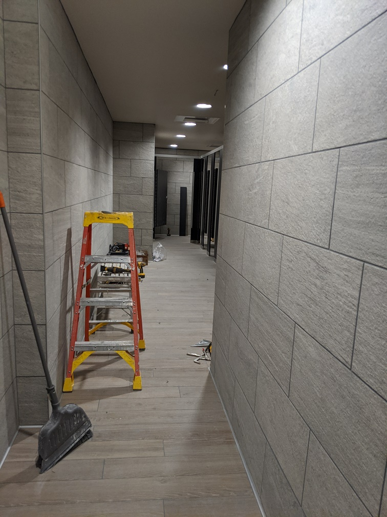 view of remodeled restroom in library from door