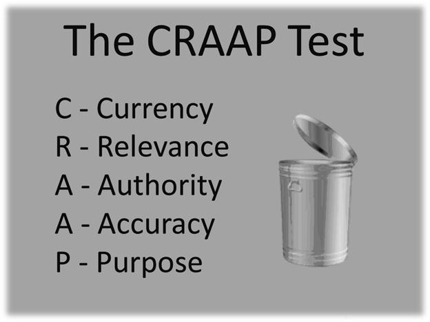 When evaluating resources, focus on currency, revevance, authority, accuracy, and perspective