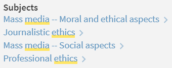 example article with mass media -- moral and ethical aspects, journalistic ethics, and mass media -- social aspects as subject terms