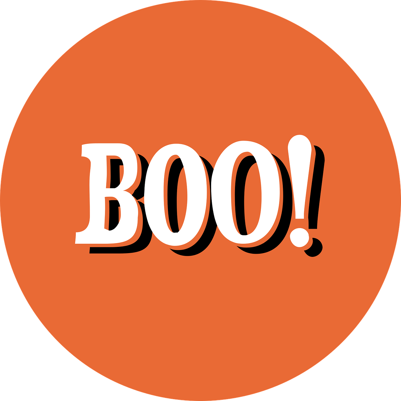 Halloween style with the word BOO!