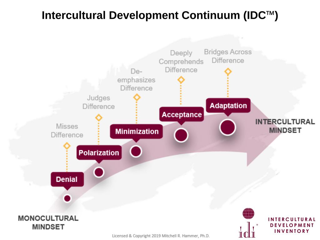 Intercultural Development Continuum diagram, moving from Denial, Polarization, Minimization, Acceptance, Adaptation