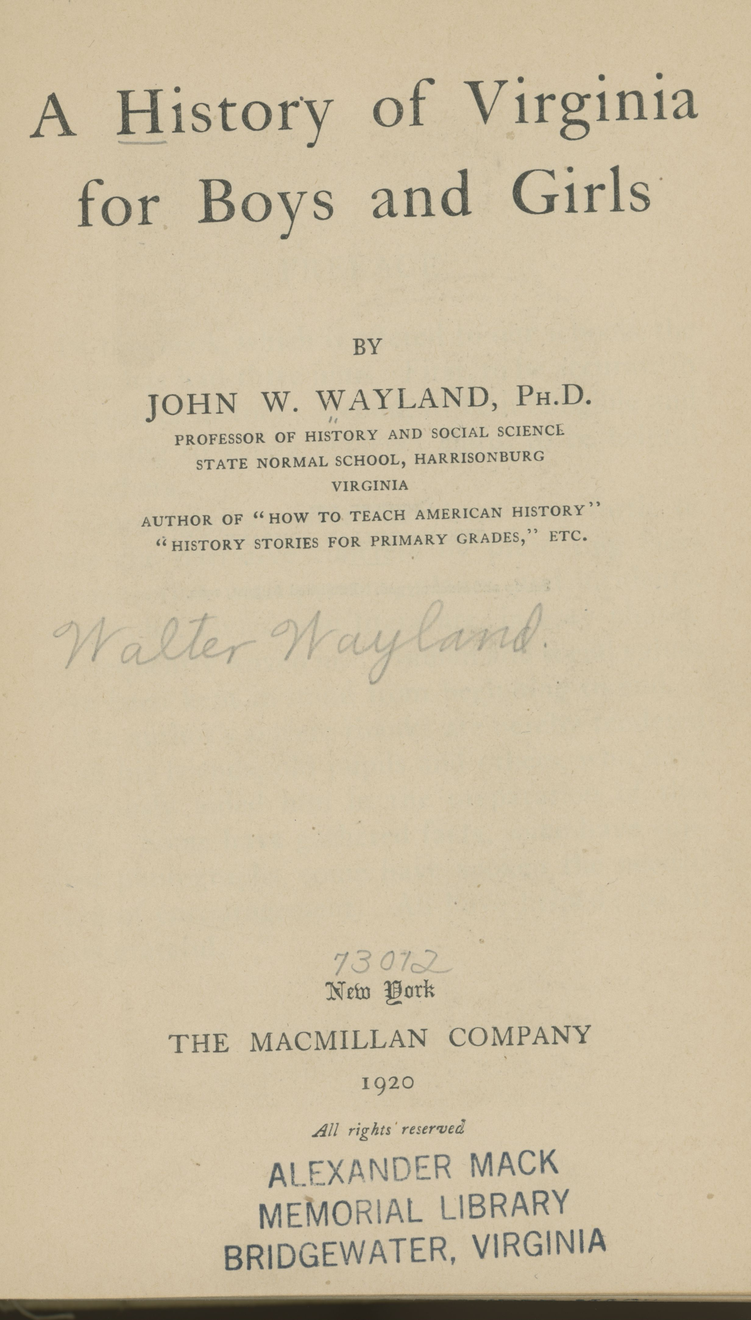 Title page from 'A History of Virginia for Boys and Girls' by John W. Wayland.