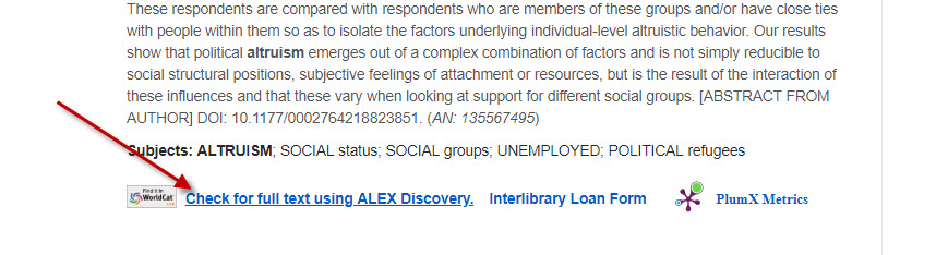 Link to Search Alex Discovery in a database