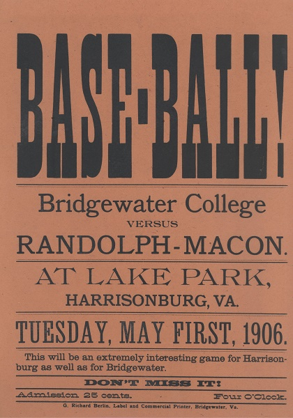 Ad for Bridgewater College Baseball 1906