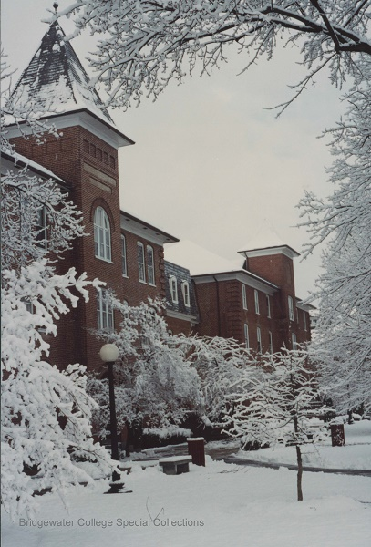 Photography of Flory Hall in snow by David Cook