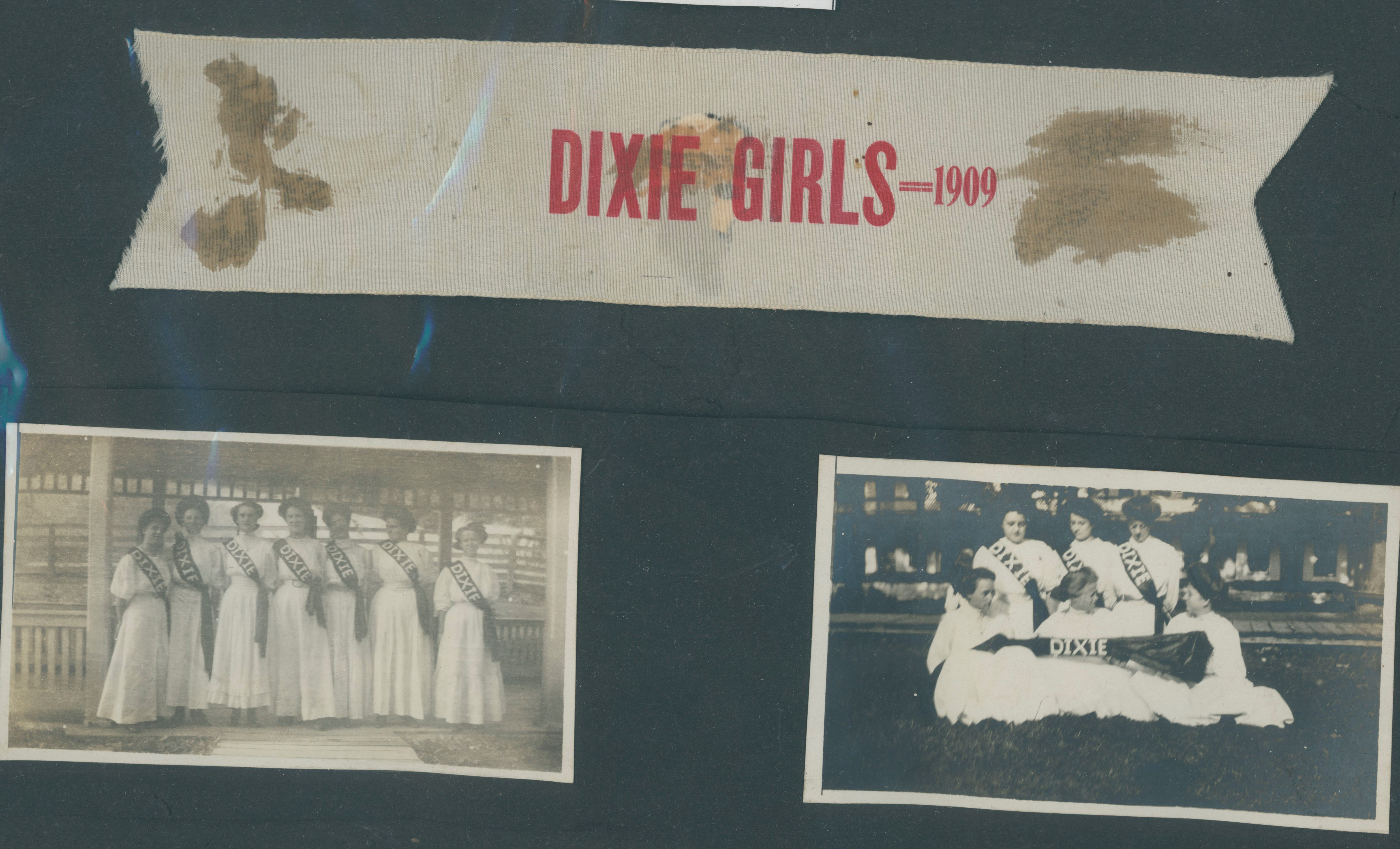 Photographs and ribbon from a Dixie Girls performance in New Market, Virginia, 1909.