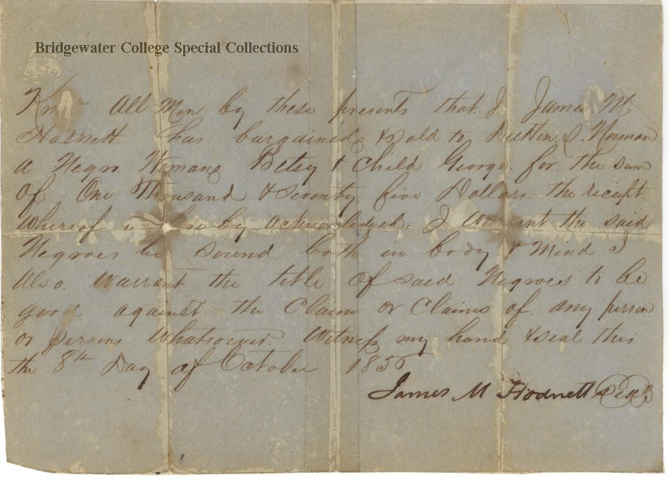 Receipt for enslaved African American mother and child sold to Duttin D. Norman by James M. Hodnett, 8 October 1850.