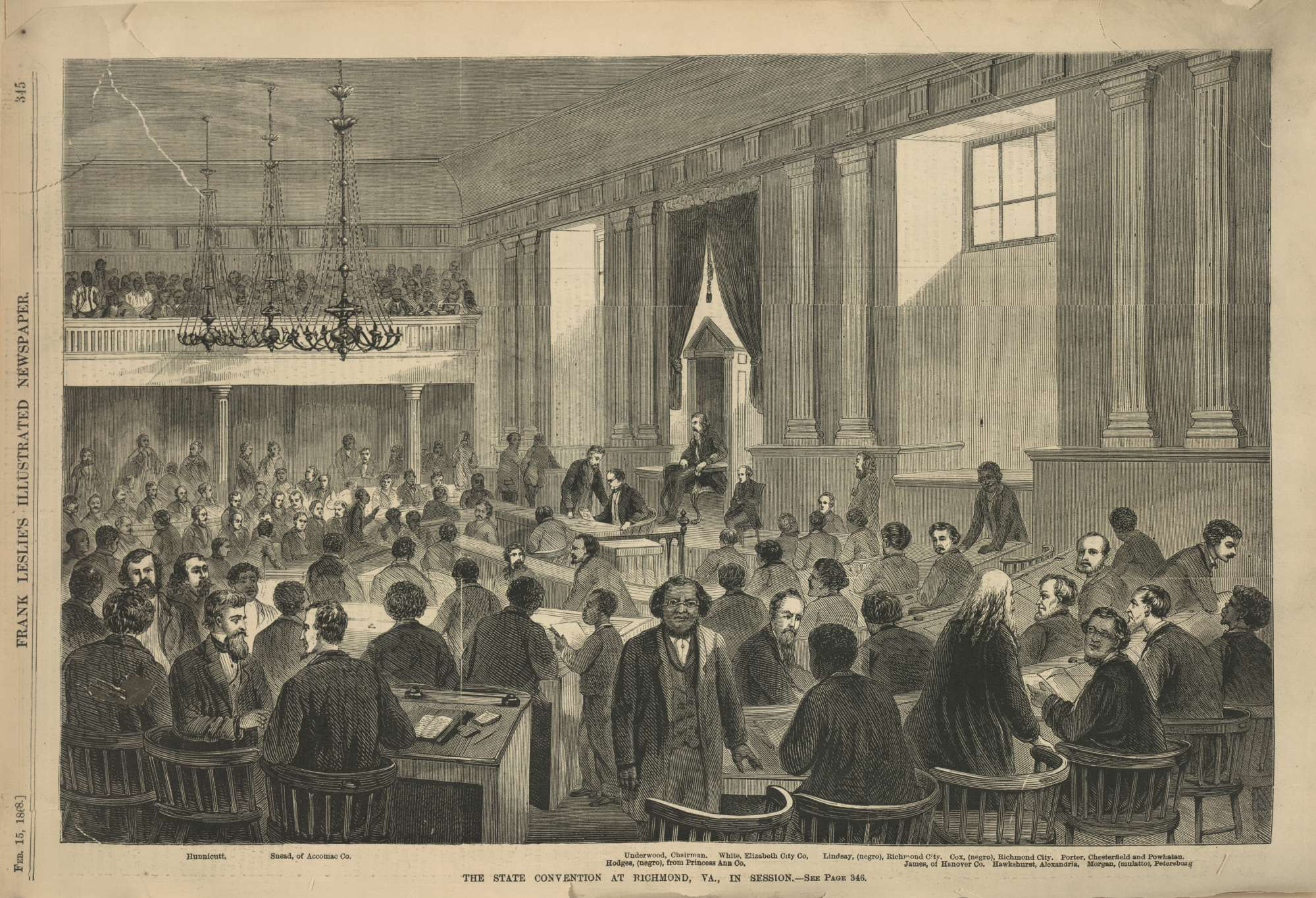 Engraving. The State Convention at Richmond, VA., In Session.
