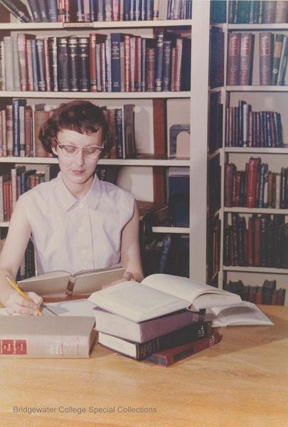 Student Studying in Library 1959