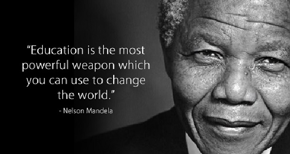 "Image of Nelson Mandela with text ""Education is the most powerful weapon which you can use to change the world."""
