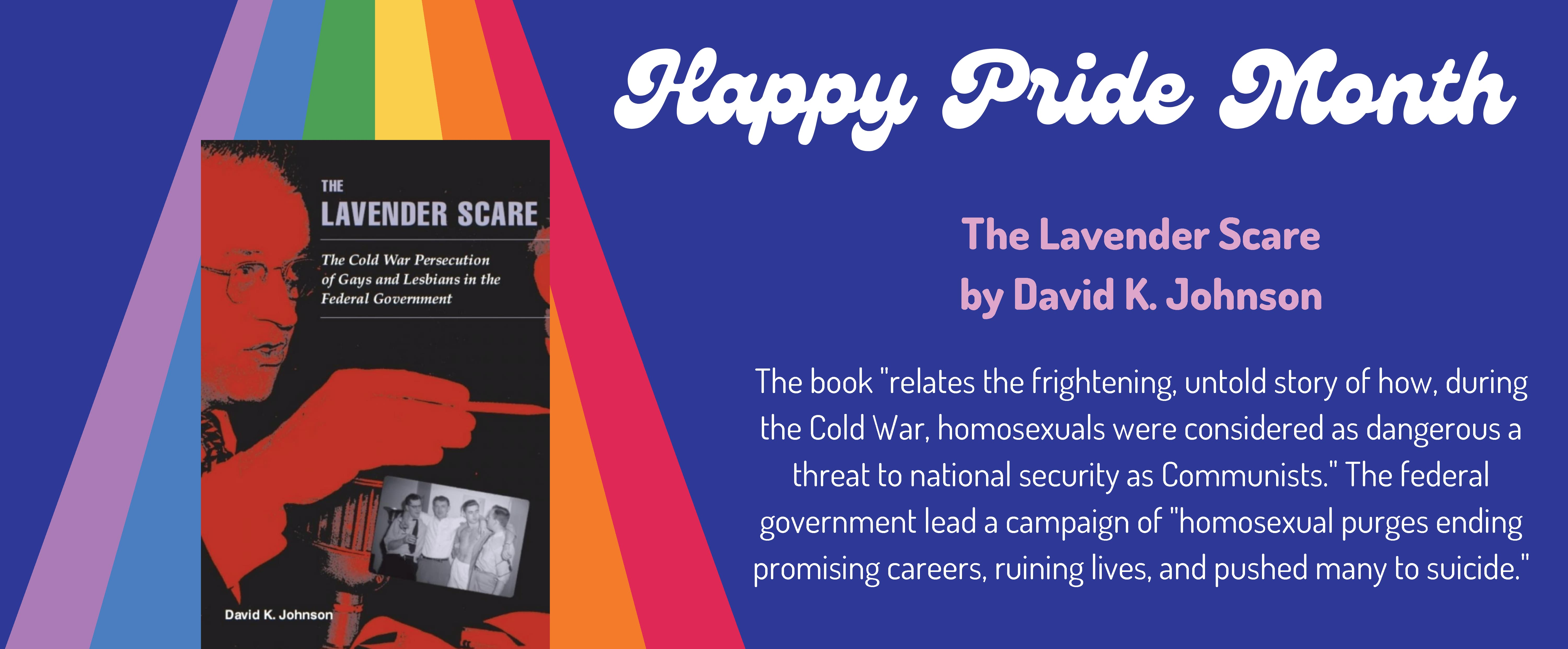 Rainbow and image of the book The Lavender Scare
