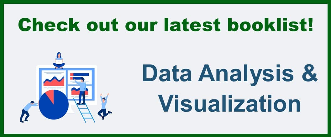 Check out our latest booklist! With image of multiple people looking at graphs
