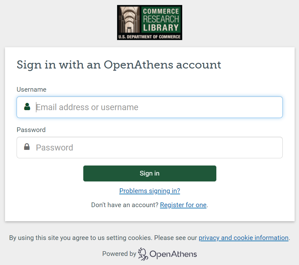 Commerce Research Library's OpenAthens Login Portal